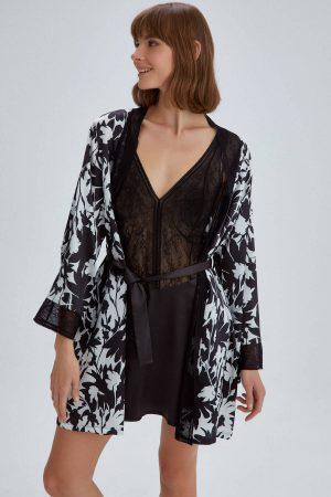 Dagi Black Dream Lace Short Kimono