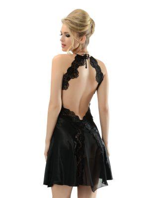 Loya Black Backless Satin Nightgown